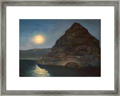Framed Print featuring the painting Moonlight On Pyramid Lake by Donna Tucker