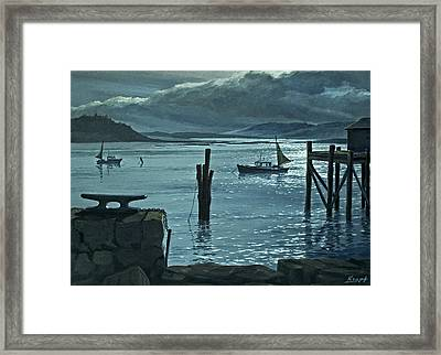 Moonlight On The Harbor Framed Print by Paul Krapf