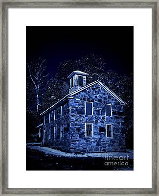 Moonlight On The Old Stone Building  Framed Print