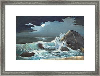 Moonlight On Waves Framed Print by Jayne Schelden