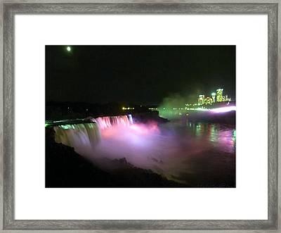 Moonlight Over A Luminous Niagara Falls N.y. Framed Print by Danielle  Parent