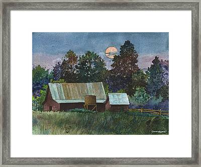 Moonlight Over Caribou Framed Print by Anne Gifford