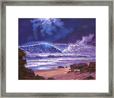 Moonlight Over Makena Beach Framed Print by David Lloyd Glover