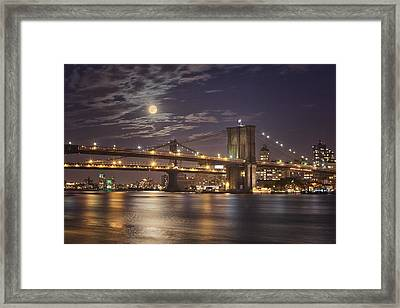 Moonlight Over The Brooklyn Bridge Framed Print