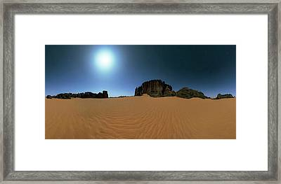Moonlight Over The Sahara Desert Framed Print