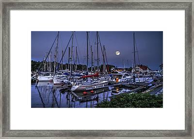 Moonlight Over Yacht Marina In Leba In Poland Framed Print