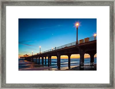 Moonlight Pier Framed Print by Inge Johnsson