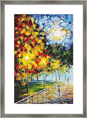 Framed Print featuring the painting Moonlight Raindrops Original Acrylic Palette Knife Painting by Georgeta Blanaru