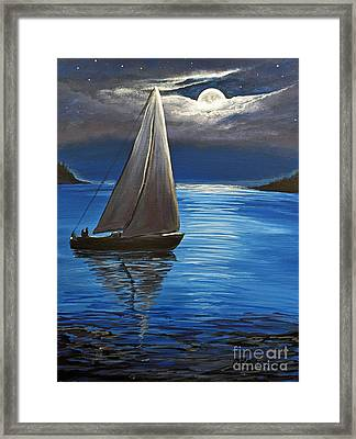 Moonlight Sailing Framed Print