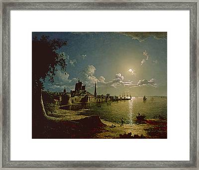 Moonlight Scene, Southampton, 1820 Framed Print