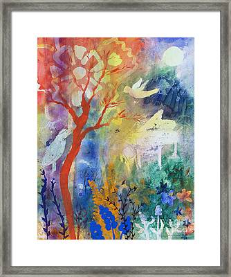 Framed Print featuring the painting Moonlight Serenade by Robin Maria Pedrero