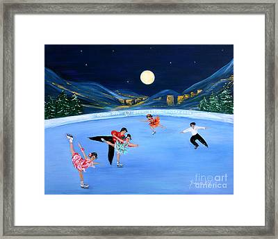 Moonlight Skating Framed Print