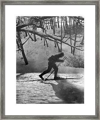 Moonlight Skiing In Russia Framed Print