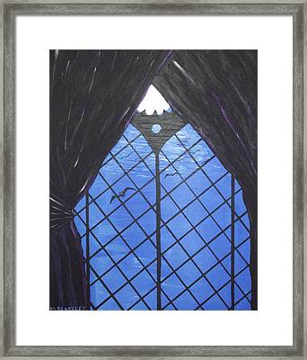 Framed Print featuring the painting Moonlight Through The Window by Martin Blakeley