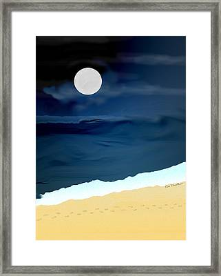 Moonlight Walk At Low Tide Framed Print by Kae Cheatham