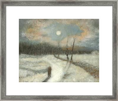 Moonlight Walk Home Framed Print