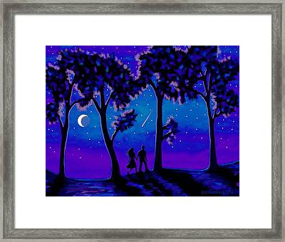 Framed Print featuring the painting Moonlight Walk by Sophia Schmierer