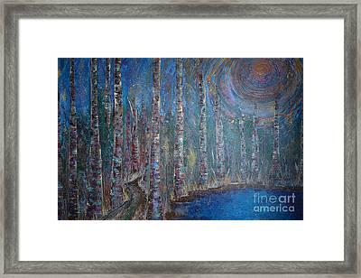 Moonlit Birch Path In Blue Framed Print