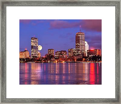 Framed Print featuring the photograph Moonlit Boston On The Charles by Mitchell R Grosky