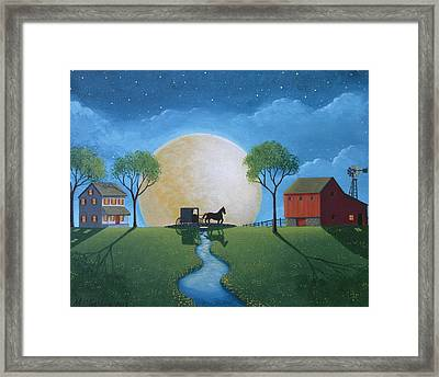Moonlit Buggy Ride Framed Print by Mary Charles
