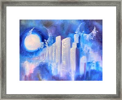 Moonlit City Blue Framed Print