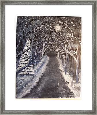 Moonlit Country Road Framed Print by Lucia Grilletto