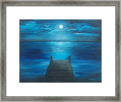 Moonlit Dock Framed Print