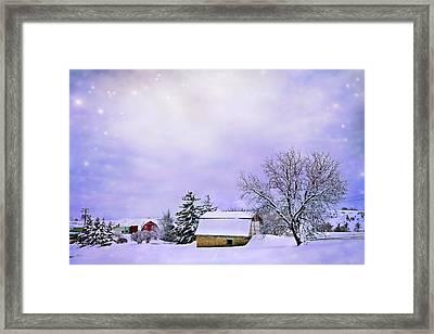 Moonlit Farm Framed Print by Theresa Tahara