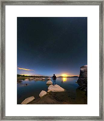 Moonlit Lake Alqueva Framed Print by Babak Tafreshi