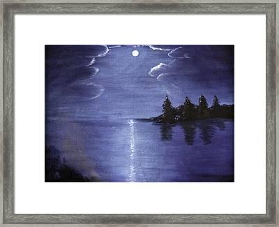 Moonlit Lake Framed Print by Judy Hall-Folde
