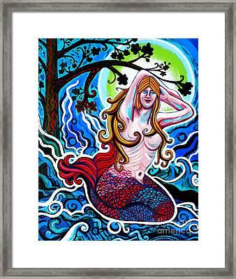 Moonlit Mermaid Framed Print by Genevieve Esson