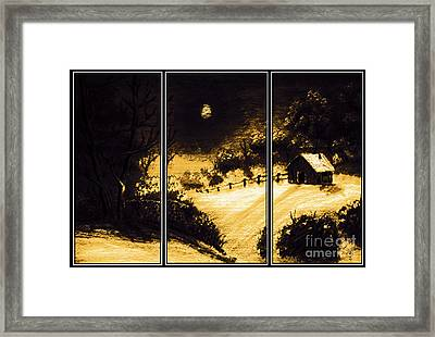 Moonlit Night Triptych Framed Print by Barbara Griffin