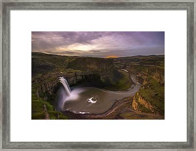 Moonlit Palouse Falls Framed Print