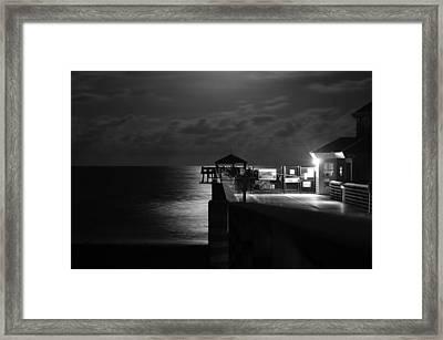 Moonlit Pier Black And White Framed Print