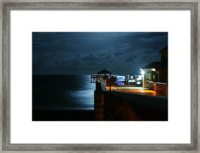 Moonlit Pier Framed Print