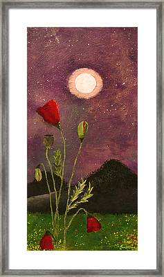 Moonlit Poppies Framed Print by Rebecca Pickrel