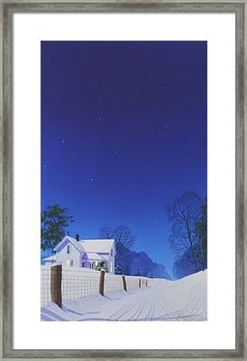 Moonlit Snowfall Framed Print