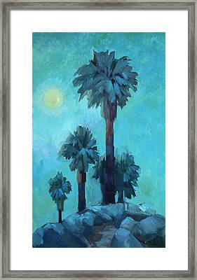 Moonrise And Palms Framed Print by Diane McClary