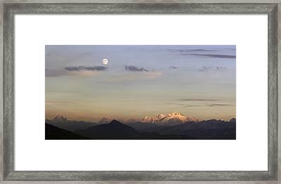 Moonrise And Sunset Framed Print
