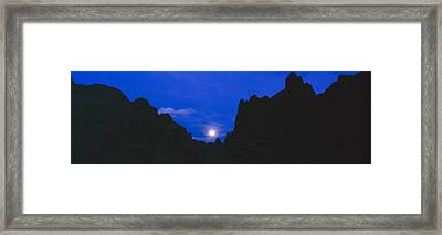 Moonrise At Alabama Hills In Sierra Framed Print by Panoramic Images