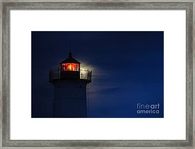 Moonrise At Nubble Lighthouse Framed Print by Scott Thorp