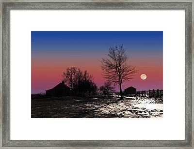 Framed Print featuring the photograph Moonrise At Sunset by Larry Landolfi