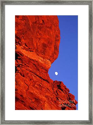 Framed Print featuring the photograph Moonrise Balanced Rock Arches National Park Utah by Dave Welling