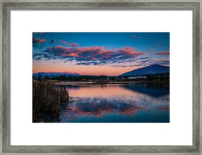 Framed Print featuring the photograph Moonrise Cranbrook Baker Mountain by Rob Tullis