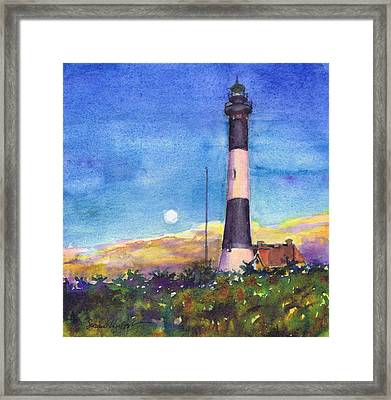 Moonrise Fire Island Lighthouse Framed Print by Susan Herbst