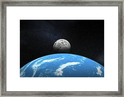Moonrise From Earth Framed Print by Henning Dalhoff