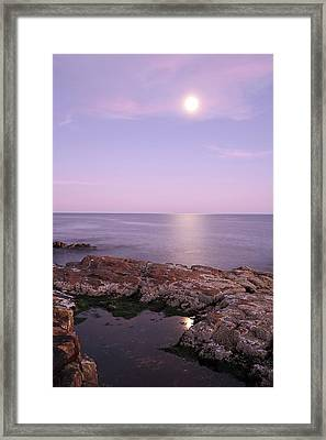 Moonrise In Acadia National Park Framed Print by Juergen Roth