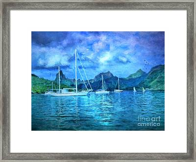 Framed Print featuring the digital art Moonrise In Mo'orea by Lianne Schneider