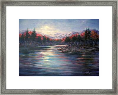 Moonrise On The Lake#2 Framed Print by Laila Awad Jamaleldin