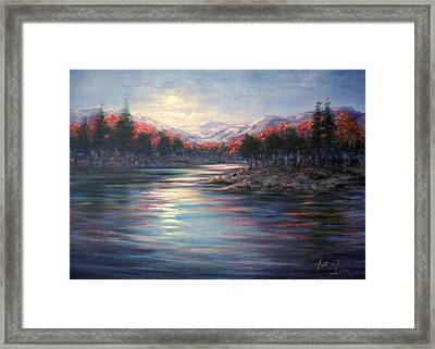 Moonrise On The Lake#2 Framed Print